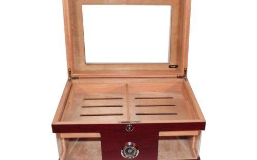 Humidor - Bordeauxrot, Glasdeckel, spanischer Zeder, für 80 Zigarren