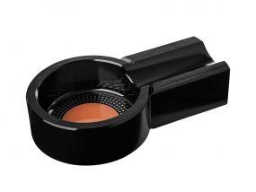 pfeifenshop: Zigarren Aschenbecher - schwarz Metall, rund