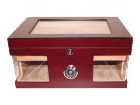 pfeifenshop: Humidor - Bordeauxrot, Glasdeckel, spanischer Zeder, für 80 Zigarren