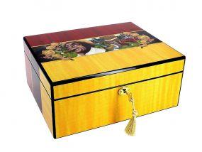 Humidor - braun, spanischer Zeder, für 50 Zigarren, Befeuchter und Hygrometer - braun lackiert, Cigarman