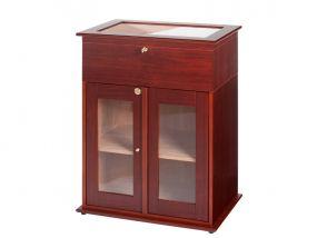 pfeifenshop: Humidorschrank - Mahagony-Farbe, Glastür, spanischer Zeder, für 250-400 Zigaren