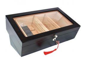 Humidor - mit Glasdeckel, spanischer Zeder, mit Befeuchter und Hygrometer - Angelo