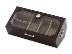 pfeifenshop: Humidor - bordeaux, mit Glasdeckel, spanischer Zeder, für 150 Zigarren