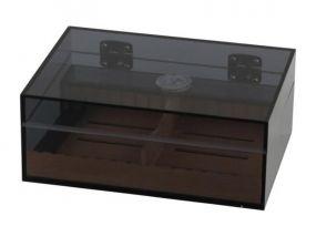 pfeifenshop: Humidor - braun Acrylglas, Zedernholzeinlage, für 30 Zigarren, mit Airsystem
