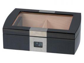 pfeifenshop: Humidor - Schwarz Carbon, Glasdeckel, spanischer Zeder, für 50 Zigarren, Passatore