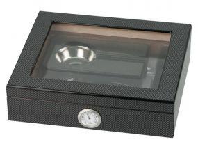 pfeifenshop: Humidor mit GeschenkSet - Schwarz, Carbon, Glasdeckel, spanischer Zeder, für 20 Zigarren