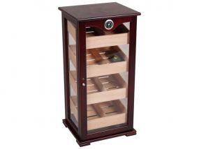 pfeifenshop: Humidorschrank - Dunkelbraun, Glastür, spanischer Zeder, für 150 Zigarren