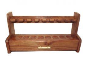 Pfeifenständer für 8 Pfeifen, mit Schublade