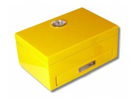 pfeifenshop: Humidor 10 szál szivar részére - sárga + SZETT!