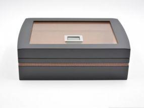 pfeifenshop: Humidor 40 szál szivarnak, cédrusfa szivar doboz, üvegtető, párásítóval, digitális higrométerrel - fekete