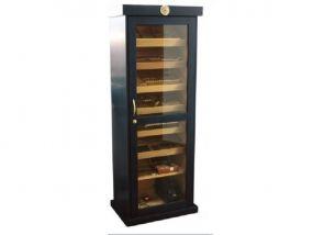 pfeifenshop: Szivarszekrény - szivar tároló, 600-800 szál szivar tárolására, fekete, cédrusfa, hygrométer, üveg ajtóval, 7 db fiókkal 180cm!!