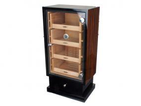 pfeifenshop: Szivarszekrény - szivar tároló,  250 szál szivarnak, üvegajtós, hygrométerrel