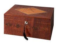 Humidor - braun, spanischer Zeder, für 80 Zigarren, Befeuchter und digital Hygrometer - braun lackiert, Intarsie