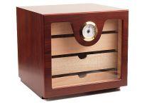 pfeifenshop: Humidorschrank - Mahagony-Farbe, Glastür, spanischer Zeder, für 80 Zigarren
