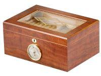 pfeifenshop: Humidor - hellbraun, Glasdeckel, spanischer Zeder, für 50 Zigarren