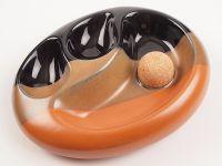 Pfeifen Aschenbecher für 2 Pfeifen - 3-farbige Keramik