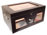 Humidor - Schwarz matt, Glasdeckel, spanischer Zeder, für 80 Zigarren
